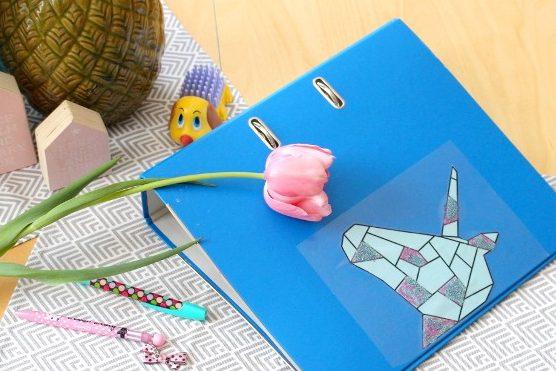 Einhorn Cover für Ordner und Hefter im Origami-Design