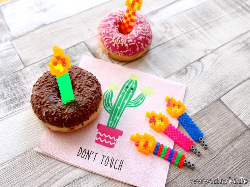 Bügelperlen Kerzen als Spieße für Donuts, Kuchen, Muffins und Co.