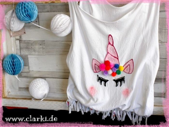 diy einhorn tasche ohne n hen aus t shirt zum selbermachen. Black Bedroom Furniture Sets. Home Design Ideas