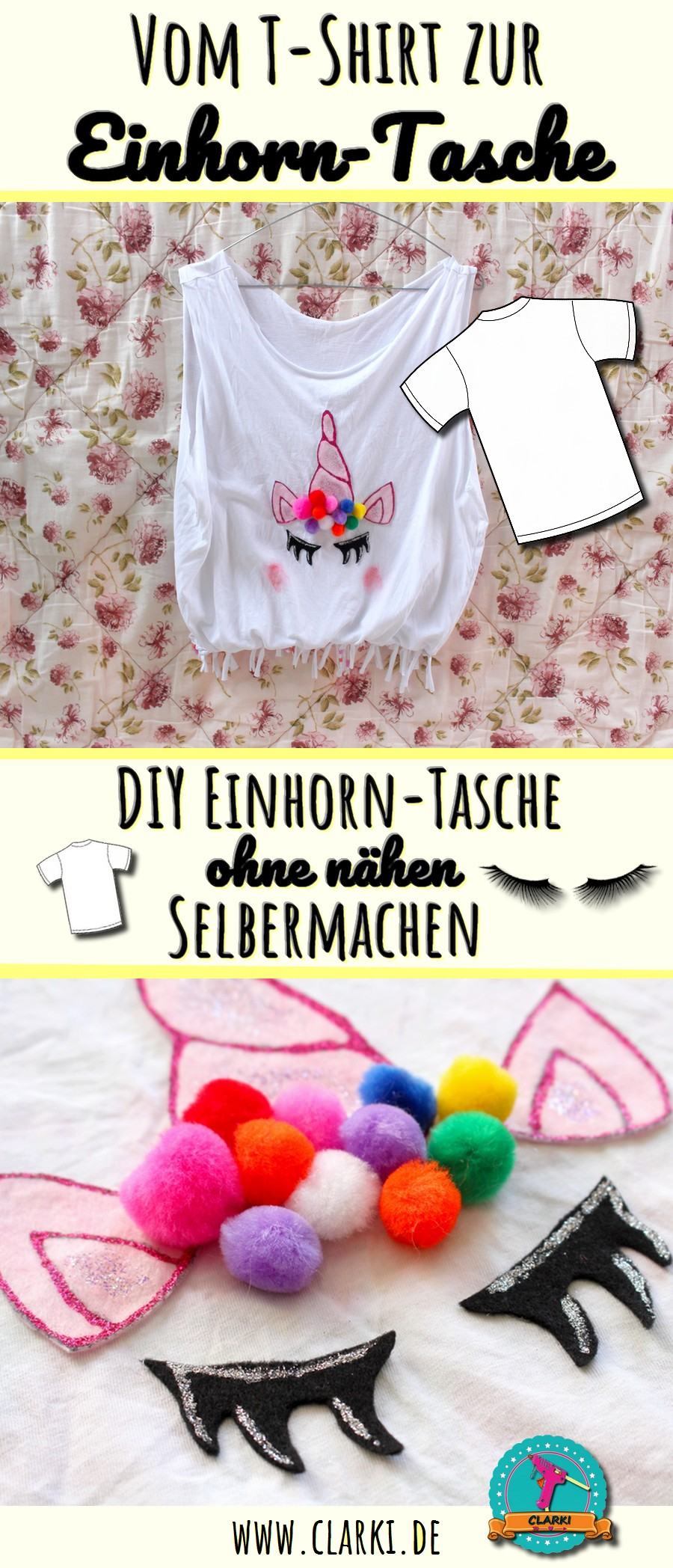 diy einhorn tasche ohne n hen aus t shirt zum selbermachen clarki. Black Bedroom Furniture Sets. Home Design Ideas