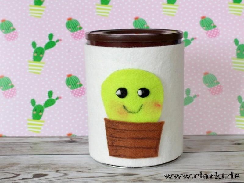 DIY Kaktus Manschette für Kaffeedose oder Glas zum Selbermachen