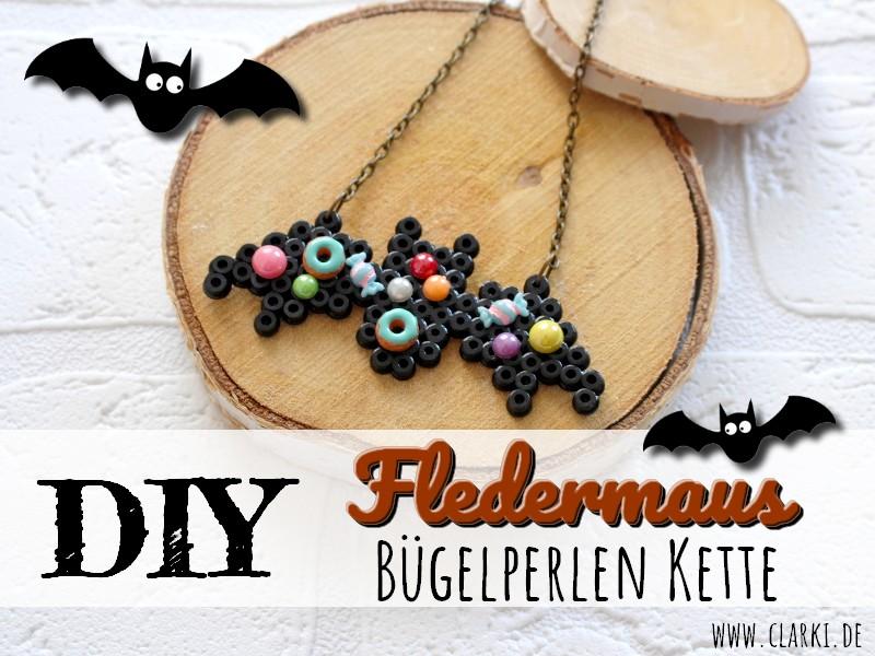 DIY Fledermaus Kette aus Bügelperlen zu Halloween