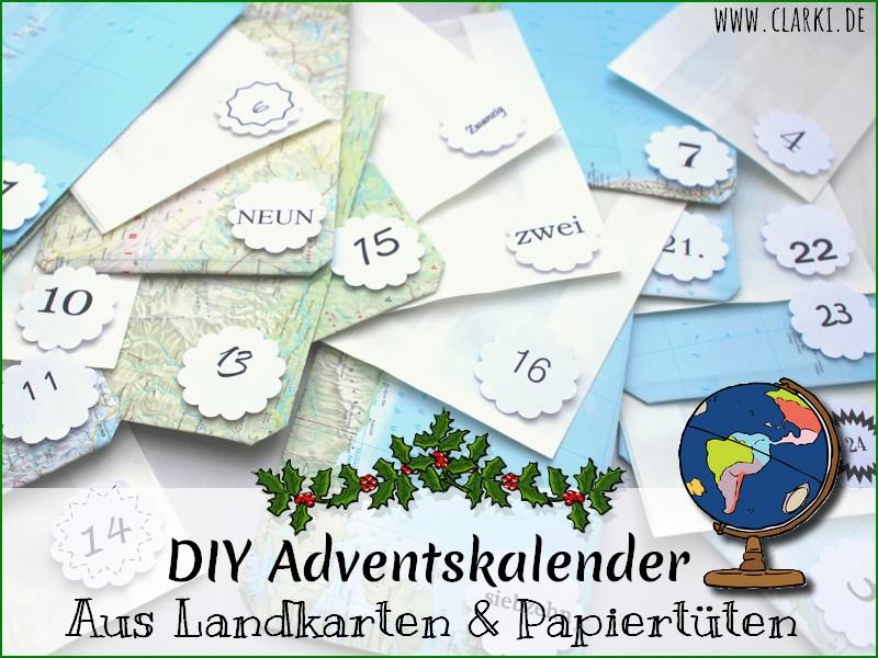 Adventskalender aus Landkarten und Papiertüten basteln