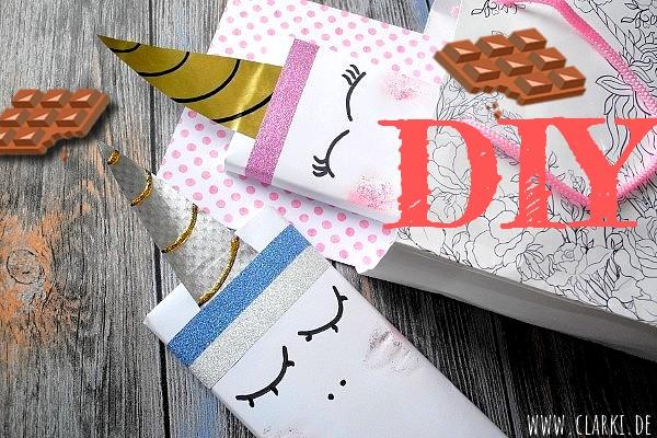 Geschenk verpacken: Tafel Schokolade im Einhorn-Design