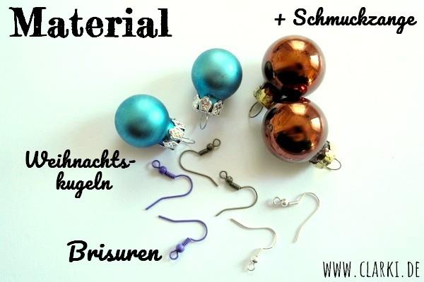 Material für Ohrringe aus Weihnachtskugeln