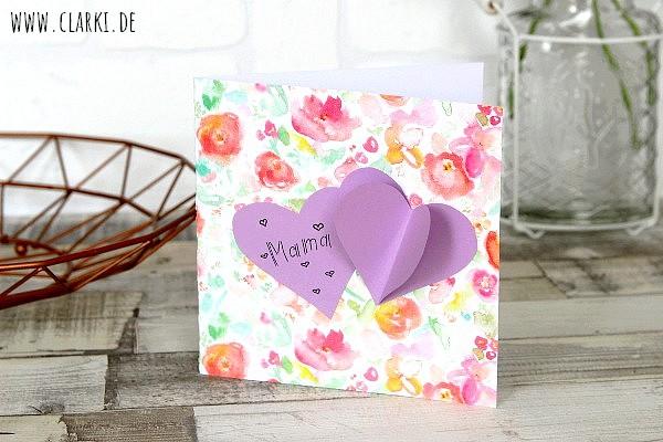 Muttertagskarten mit Herzen im 3D-Effekt einfach selber machen – clarki