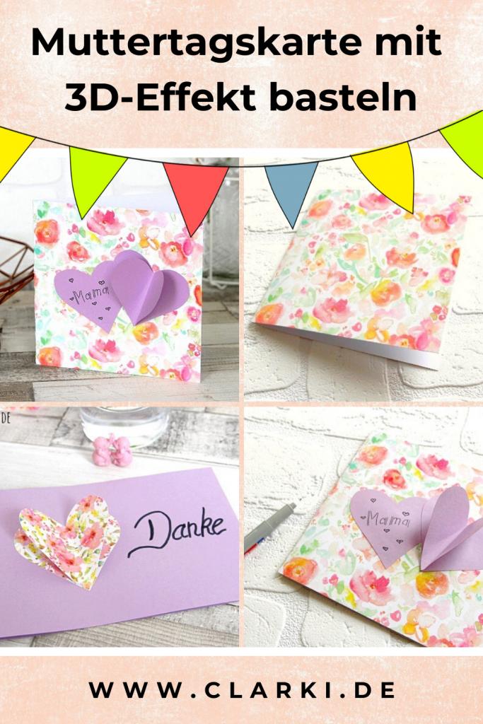 3D Muttertagskarte mit Herzen aus Papier basteln