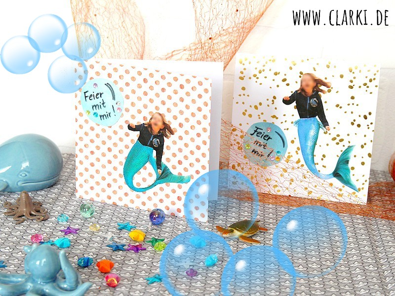 DIY Meerjungfrau-Karte mit persönlichem Foto + kostenloser Flossen-Vorlage