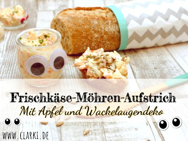 Rezept: Frischkäse-Möhren-Aufstrich mit Apfel und Wackelaugendeko
