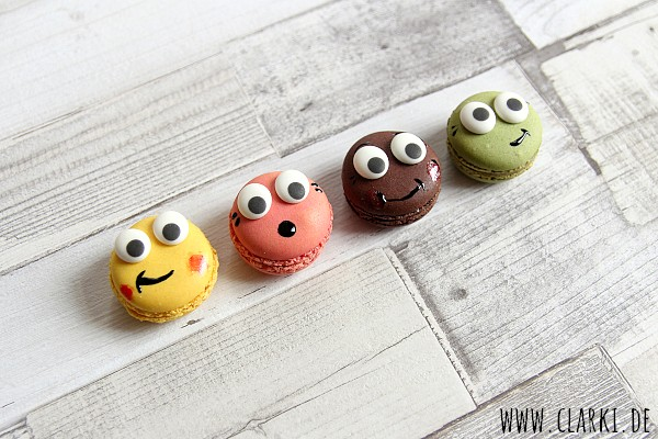 Fun Food: Macaron Gesicht mit Zuckeraugen