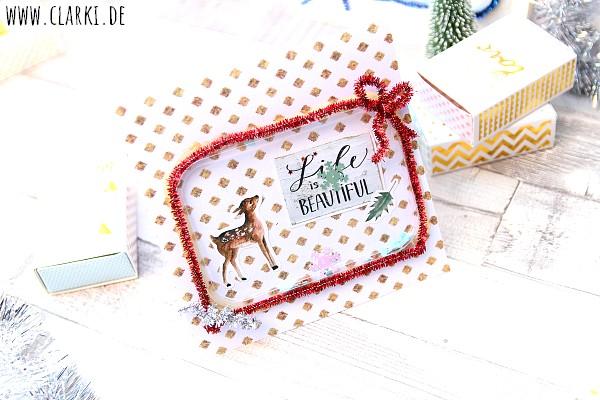 Weihnachtskarte aus Joghurtdeckeln