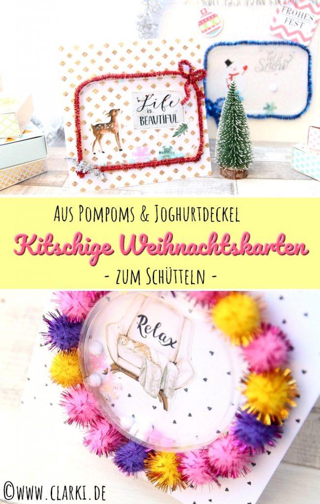 Weihnachtskarten aus Pompoms und Joghurtdeckeln