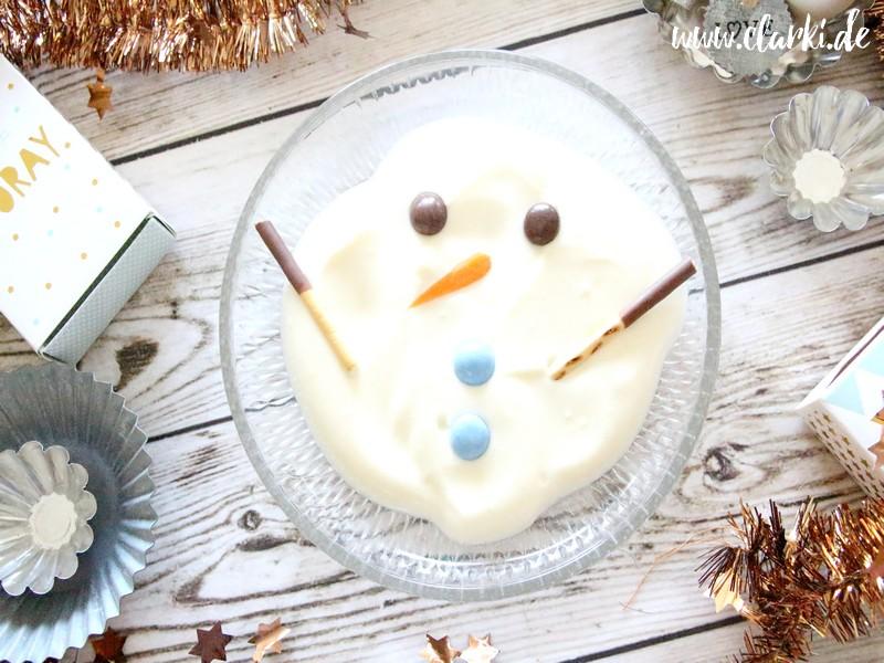 Nachtisch zu Weihnachten: Geschmolzener Schneemann